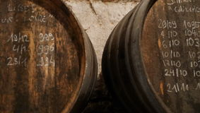Wine cask. Montlouis wine cask stock photos