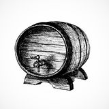 Wine cask sketch and vintage illustration. Isolated on white background Royalty Free Stock Photo
