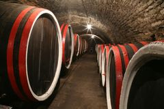 Wine cellar. An old wine cellar with barrels Royalty Free Stock Photos