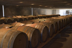 Wine Cellar. Rows of barrels in a wine cellar Royalty Free Stock Photography