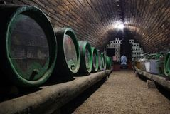 Wine cellar. Barrels of wine.South Moravia,Czech republic Royalty Free Stock Photography
