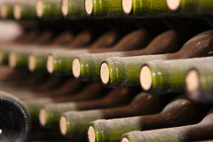 Wine cellar. Wine bottles from cellar - close up Stock Images