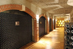 Wine cellar. Old fashion traditional wine / champagne storage place (cellar) in France Stock Photo