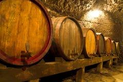 Wine Cellar. An old wine cellar with oak barrels Stock Image