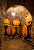 Wine cellar. View into an old wine cellar with large barrels through an arch Stock Image