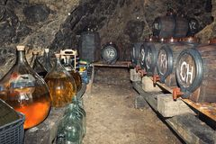 Wine cellar. A small family wine cellar Stock Photos