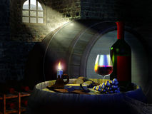 Wine cellar. With light entering through a barred window Stock Photography