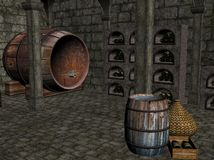 Wine Cellar.. A 3D image of a wine cellar with bottles of wine stored in semicircular cavities formed in the cellar walls and also a barrel of wine situated on Royalty Free Stock Photo