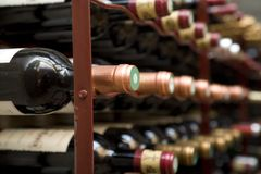Wine cellar. Close up shot of a wine cellar Royalty Free Stock Images