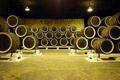 Wine cellar. A lot of barel of wine in wine cellar in Crimea Ukraine Stock Photography