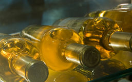 Wine in a cellar. Exclusive wine in a glass winecellar Stock Photo