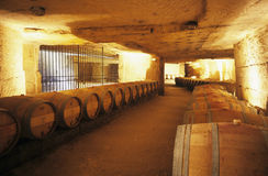 Wine cellar. Of Chateau Franc-Mayne, St. Emillion, Bordeaux Royalty Free Stock Photography