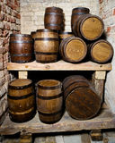 Wine cellar with barrels Royalty Free Stock Image