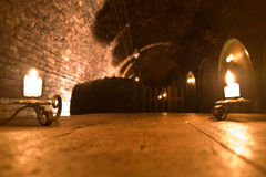 Wine cellar with barrels Royalty Free Stock Images