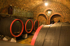 Wine cellar with barrels royalty free stock photo