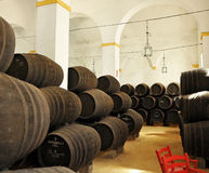 Wine cellar, Bodega in Sanlucar de Barrameda, Cadiz province, Spain Stock Photography
