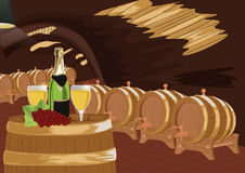Wine cellar with bottle of champagne, two glasses and grapes on wooden barrel Stock Photos