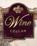 Wine Cellar. Brick Wall Brass sign Stock Photos