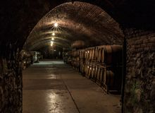Brotherhood Winery. Wine cellar at Brotherhood Winery in Washingtonville, NY. Dark. Mysterious. Underground royalty free stock image