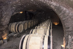 Wine Cellar Cave With Barrels Stock Photo