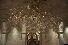 Wine cellar with exclusive chandelier, Nappa Valley Royalty Free Stock Image