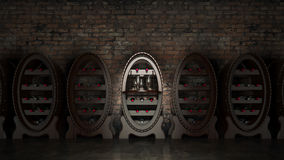 Wine cellar full of wine bottles Royalty Free Stock Images