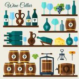 Wine cellar icons Royalty Free Stock Photography
