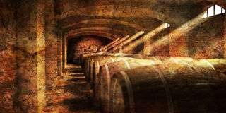 Wine cellar. A wine cellar with light filtering through the windows vector illustration