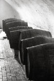 Wine cellar. Line of wooden  barrels in a cellar Stock Photos