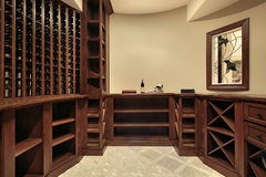 Wine cellar in luxury home Royalty Free Stock Image