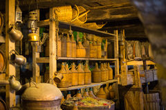 Wine cellar in monastery Stock Images