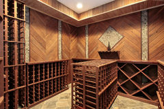 Wine cellar with multiple racks Royalty Free Stock Image