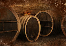 Wine cellar with old oak barrels in vintage style. Wine cellar with a large oak wine barrels in vintage style Royalty Free Stock Images