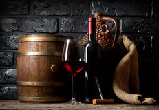 Wine in cellar Stock Images
