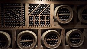 A wine cellar is a storage room for wine in bottles or barrels,.  stock footage