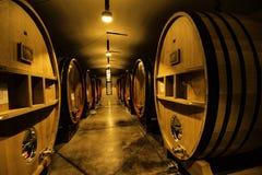 Wine Cellar in Tuscany Italy. Wine barrels in Winery in Tuscany Italy Stock Photo