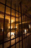 Wine cellar in underground stone quarry Stock Photo