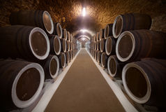 Wine cellar. Warehoused barrels in the wine cellar Stock Photo