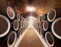 Wine cellar. Warehoused barrels in the wine cellar Stock Photography