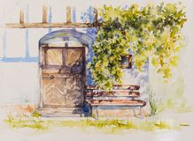 Wine cellar watercolors painted stock image