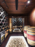 Wine cellar with wine bottle and glasses Royalty Free Stock Image
