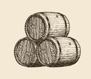 Free Wine Cellar, Winery. Wooden Barrels With Wine, Sketch. Vintage Vector Illustration Royalty Free Stock Photos - 140638048