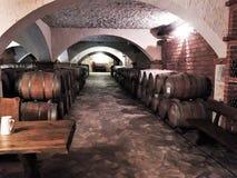 Wine Cellar- Wooden wine barrels Stock Photo