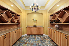 Wine cellar with yellow walls Royalty Free Stock Images