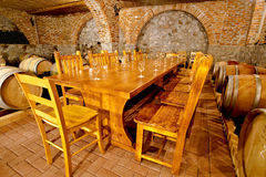 Wine celler. Barrels for wine in a wine cellar Stock Images