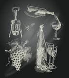 Wine chalkboard decorative set Royalty Free Stock Photo