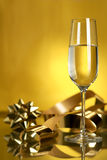 Wine. Champagne. Champagne in glasses on a yellow background Stock Photo