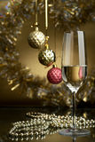 Wine. Champagne. Champagne in glasses on a yellow background Stock Photography