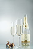 Wine. Champagne. Champagne in glasses on a dark background Stock Image