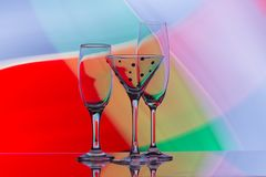 Wine, Champagne and coctail Glasses. Freeze light background, copy space stock photos